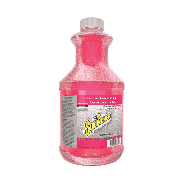 Sqwincher® 030319-SL Concentrated Sports Drink Mix, 64 oz Bottle, Liquid, 5 gal Yield, Strawberry Lemonade