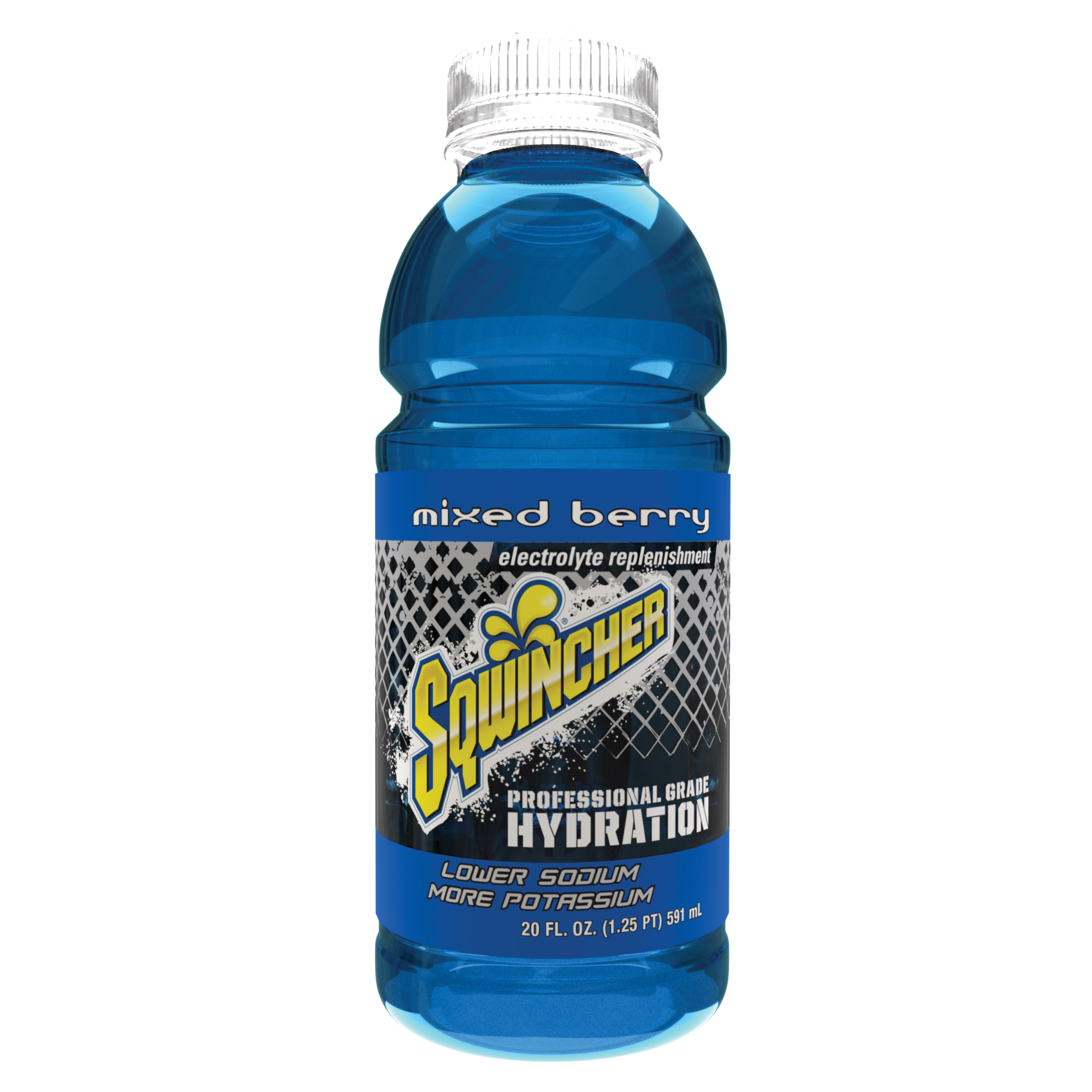 Sqwincher® 030530-MB Widemouth Sports Drink, 20 oz Ready-To-Drink Plastic Bottle, Liquid, Mixed Berry
