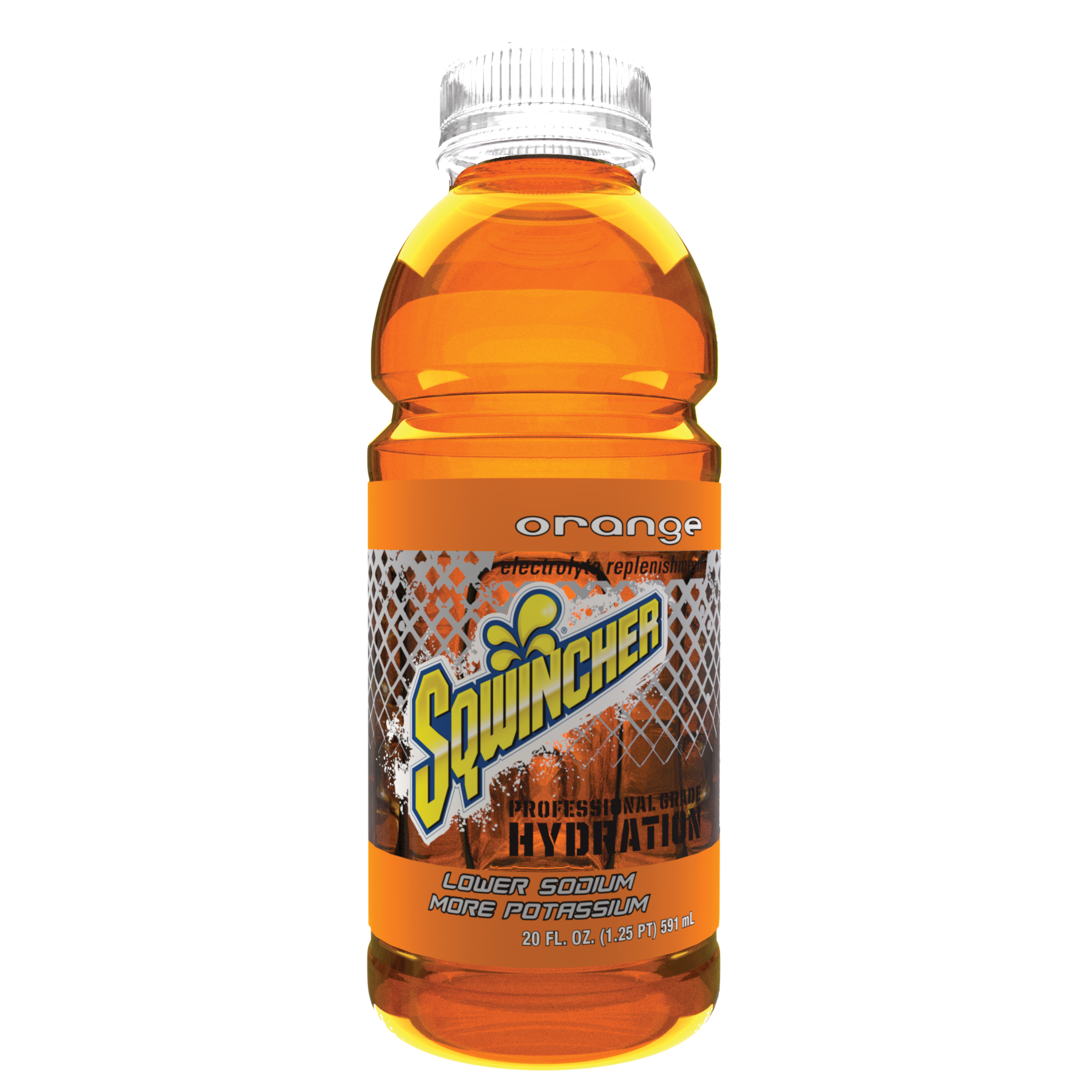 Sqwincher® 030534-OR Sports Drink, 20 oz Wide Mouth Bottle, Ready-to-Drink, 20 oz Yield, Orange