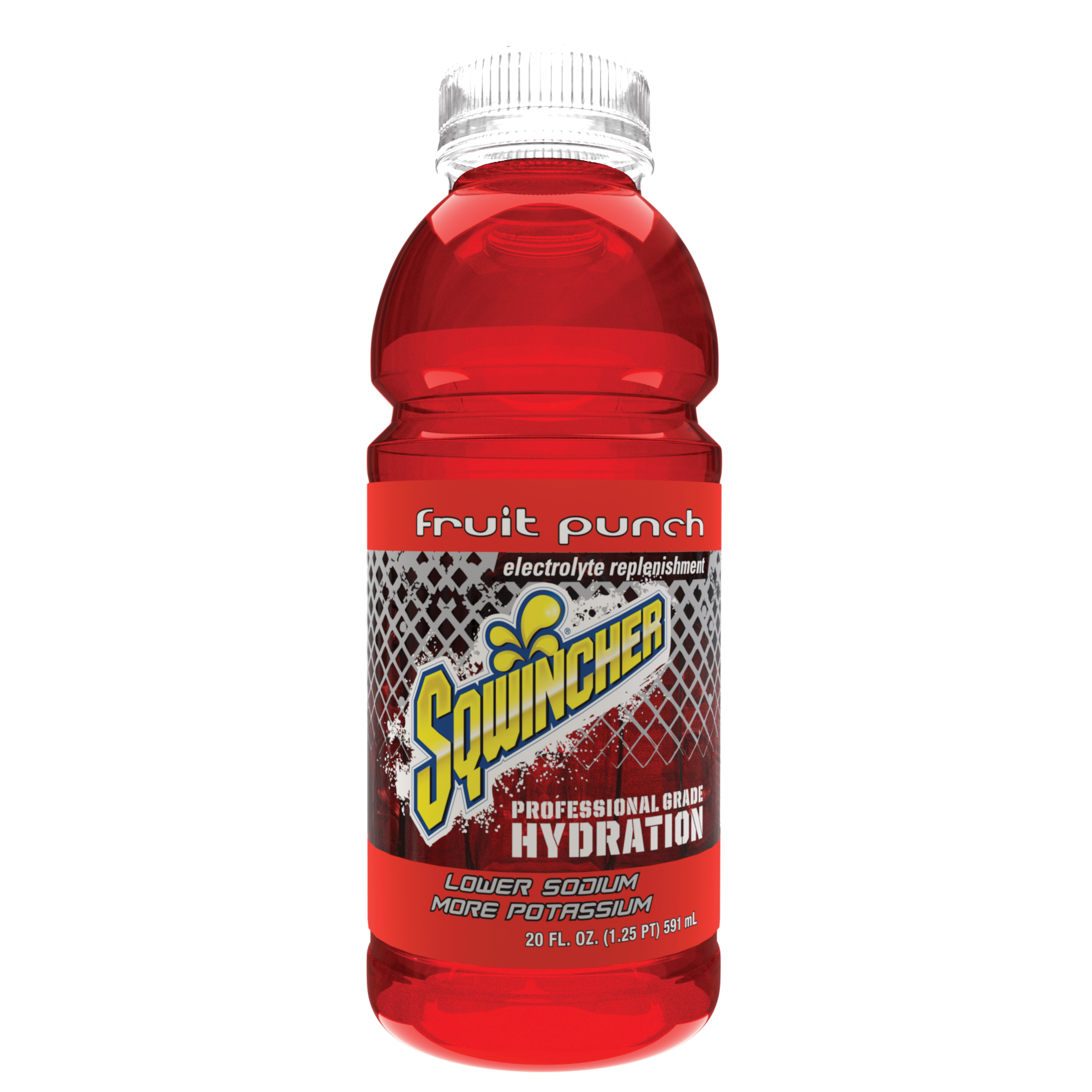 Sqwincher® 030535-FP Sports Drink, 20 oz Wide Mouth Bottle, 20 oz Yield, Ready-to-Drink Form, Fruit Punch