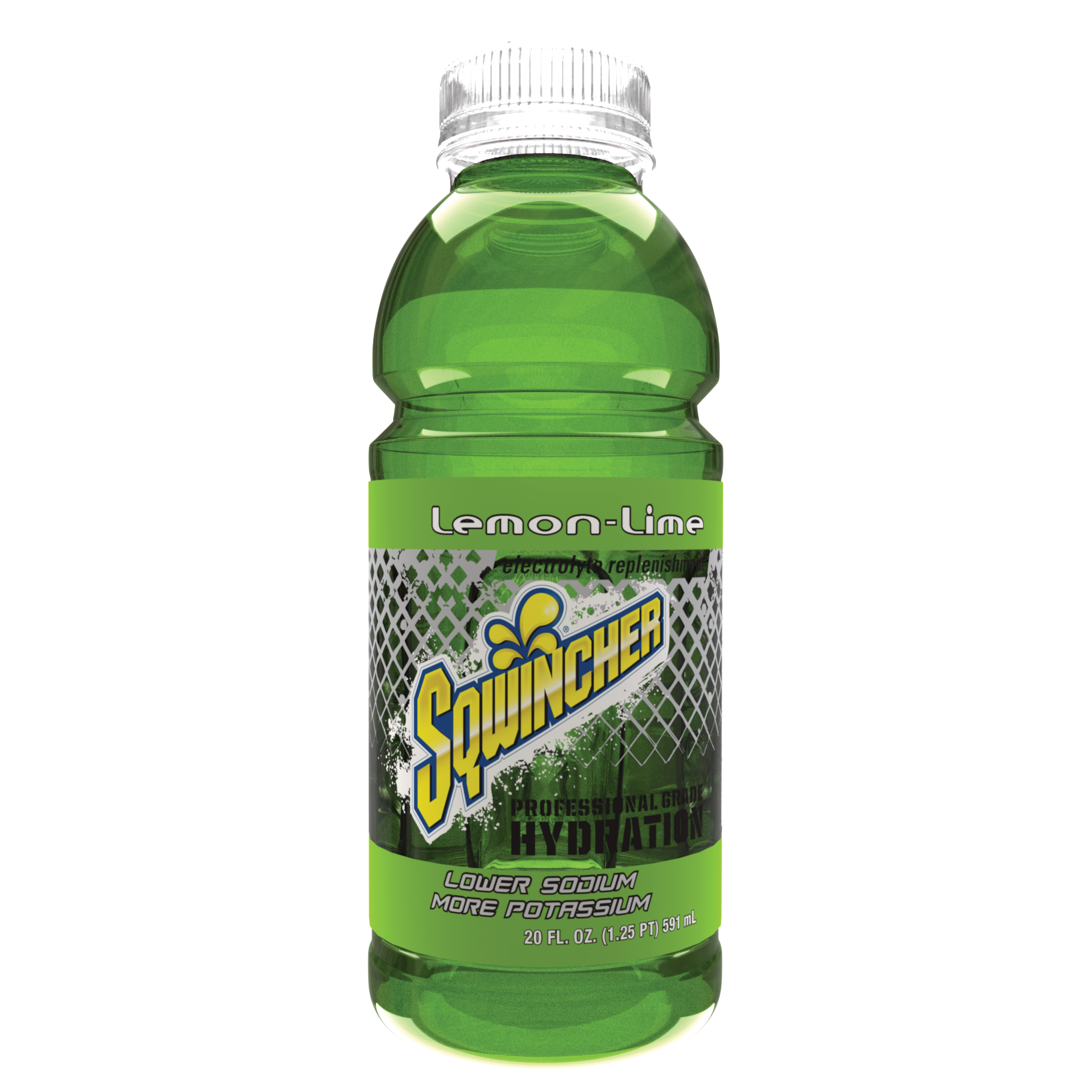 Sqwincher® 030538-LL Widemouth Sports Drink, 20 oz Ready-To-Drink Plastic Bottle, Liquid Form, Lemon Lime