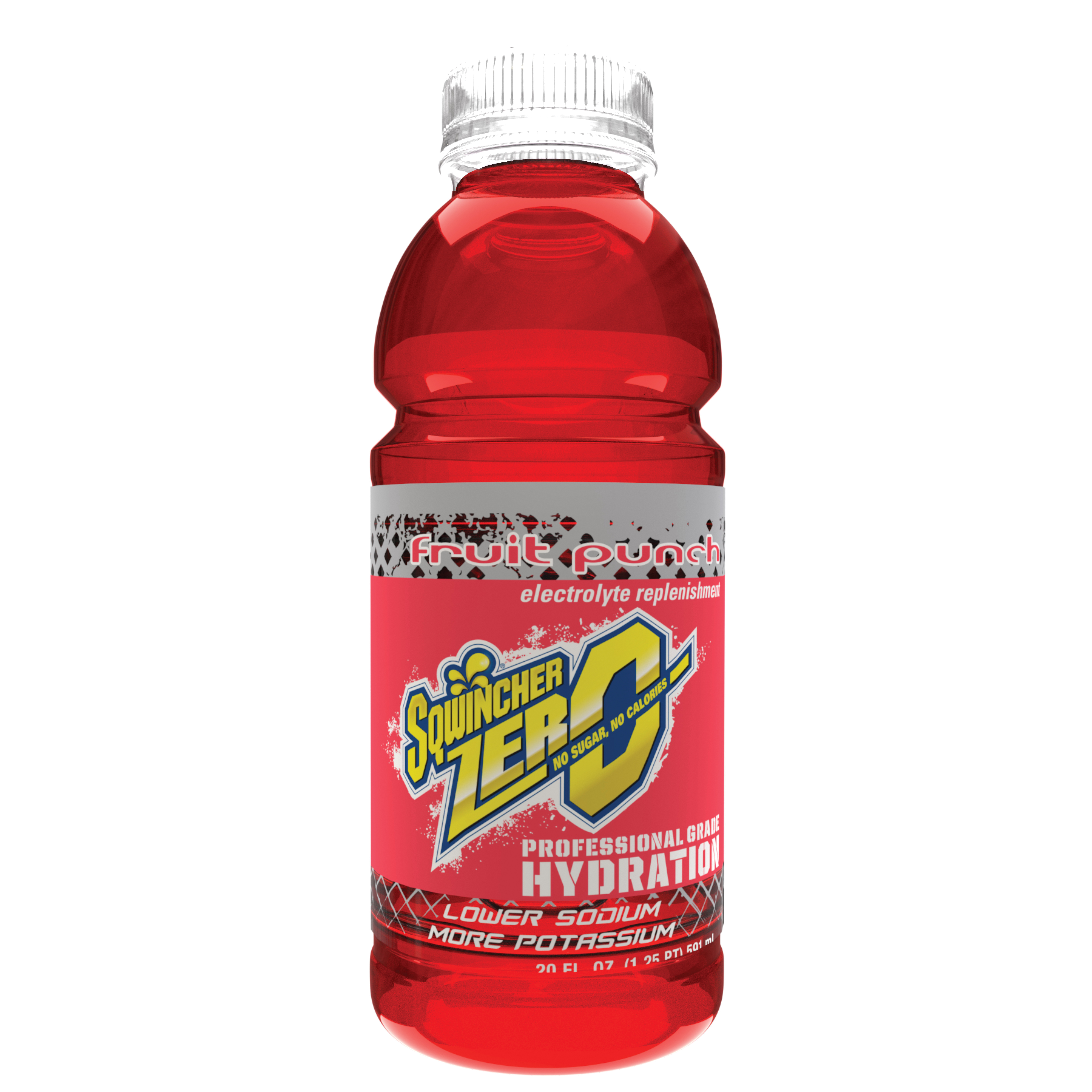 Sqwincher® 030800-FP Widemouth ZERO Sports Drink, 20 oz Ready-To-Drink Plastic Bottle, Liquid Form, Fruit Punch