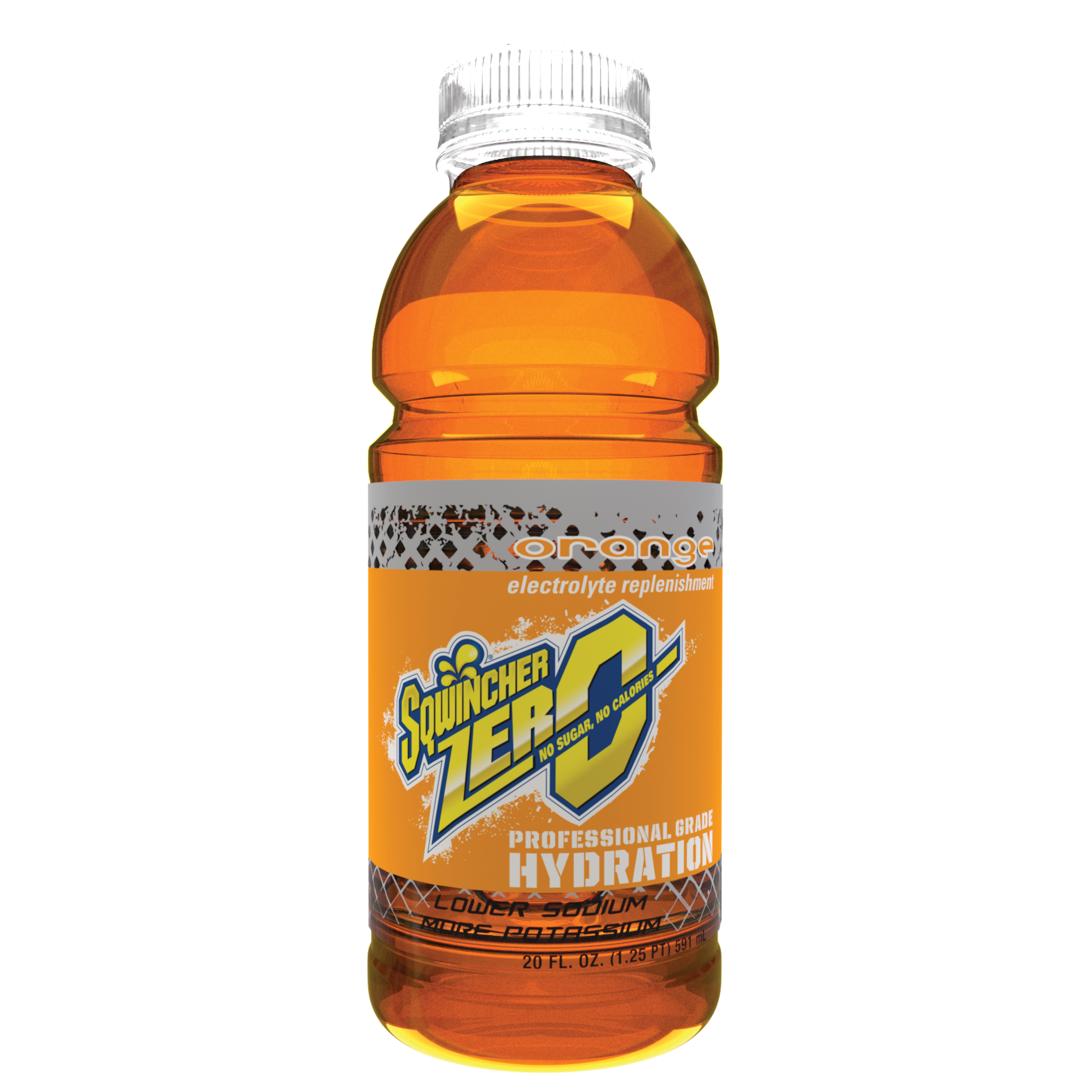 Sqwincher® 030801-OR Widemouth ZERO Sports Drink, 20 oz Ready-To-Drink Plastic Bottle, Liquid Form, Orange