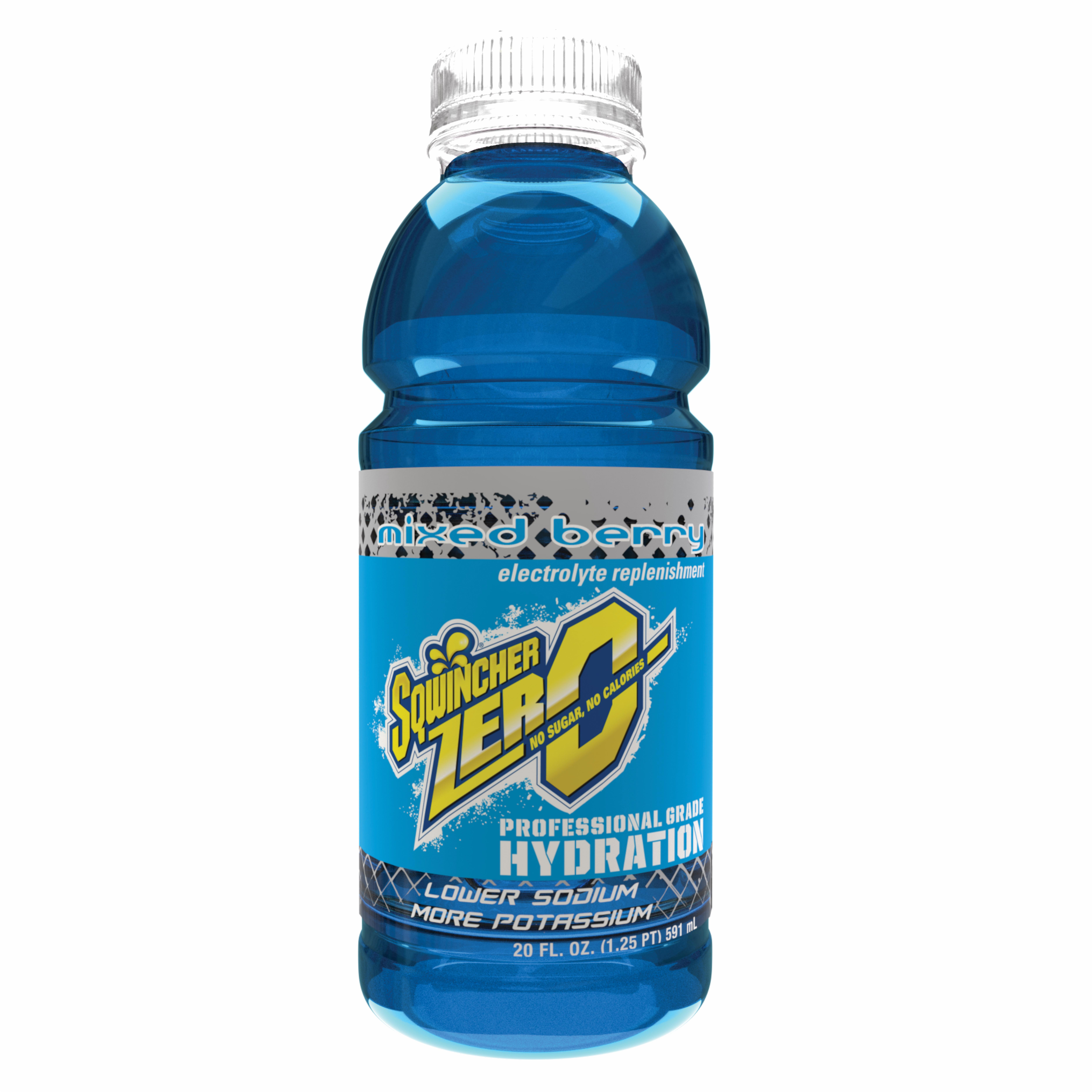 Sqwincher® 030804-MB Widemouth ZERO Sports Drink, 20 oz Ready-To-Drink Plastic Bottle, Liquid, Mixed Berry