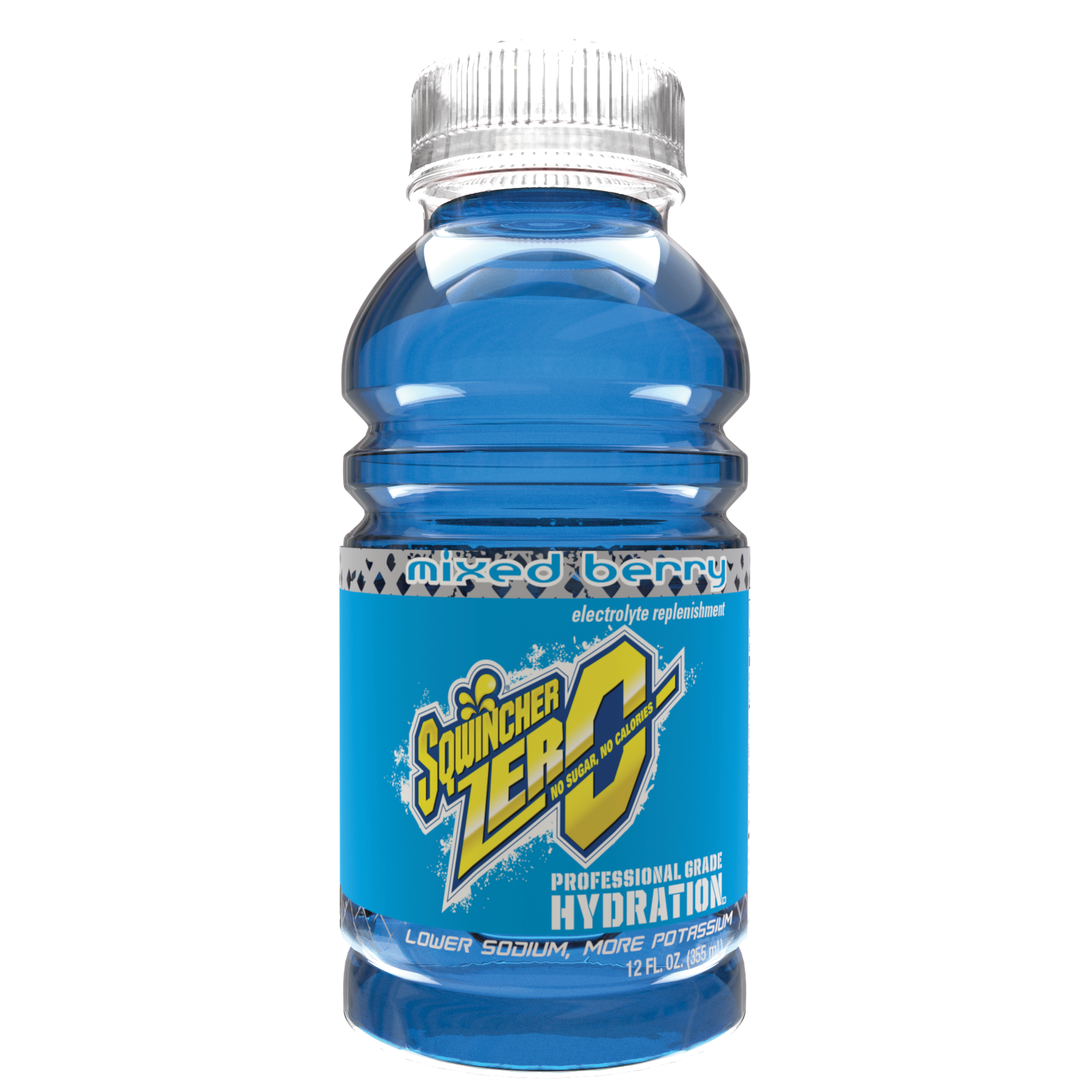 Sqwincher® 030920-MB Widemouth ZERO Sports Drink, 12 oz Ready-To-Drink Plastic Bottle, Liquid Form, Mixed Berry