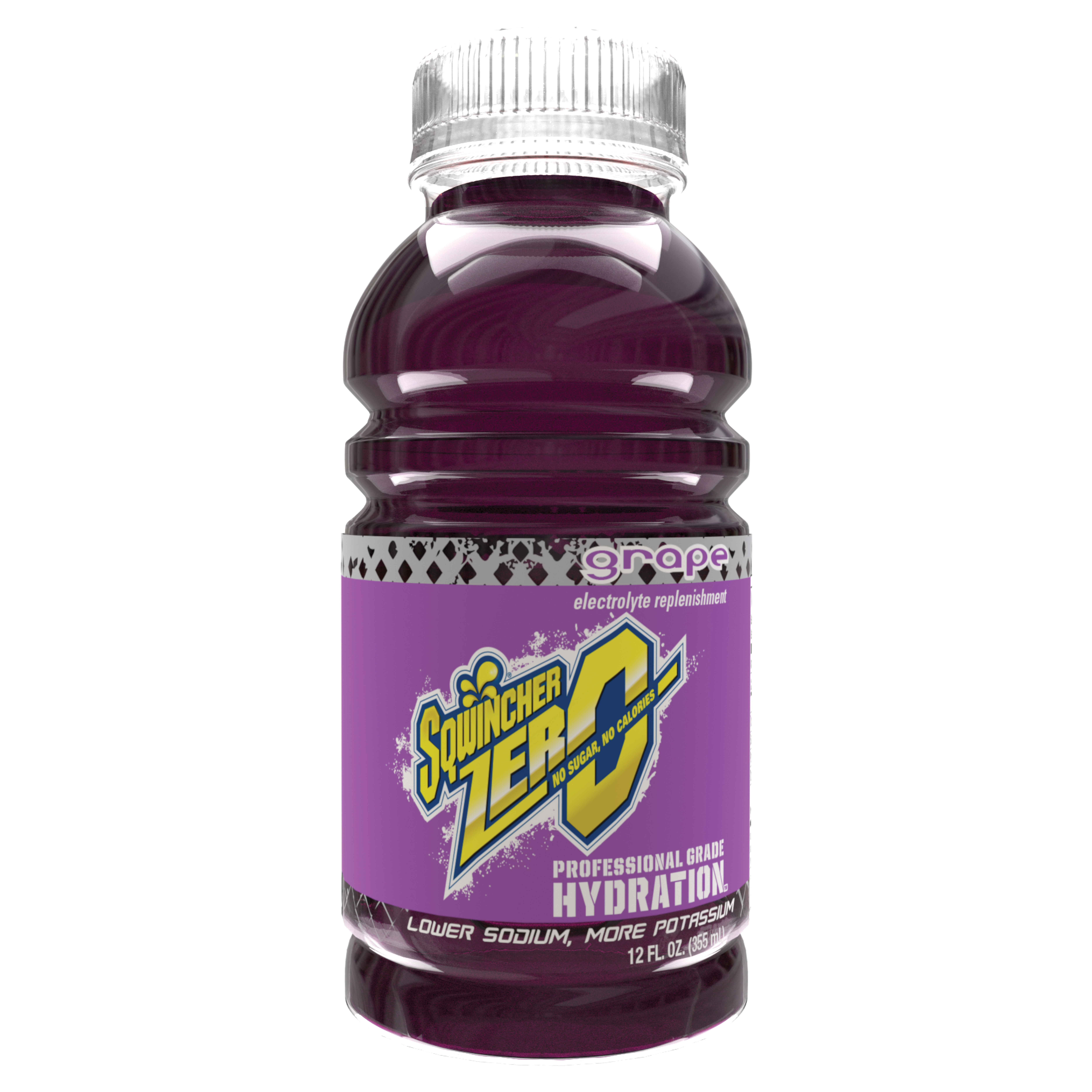 Sqwincher® 030922-GR Widemouth ZERO Sports Drink, 12 oz Ready-To-Drink Plastic Bottle, Liquid, Grape