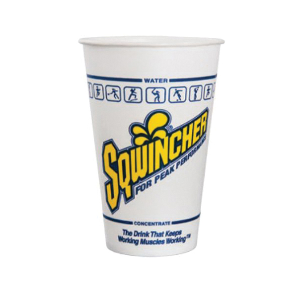 Sqwincher® 200101 Wrapped Disposable Cold Cup, 12 oz, Paper, White