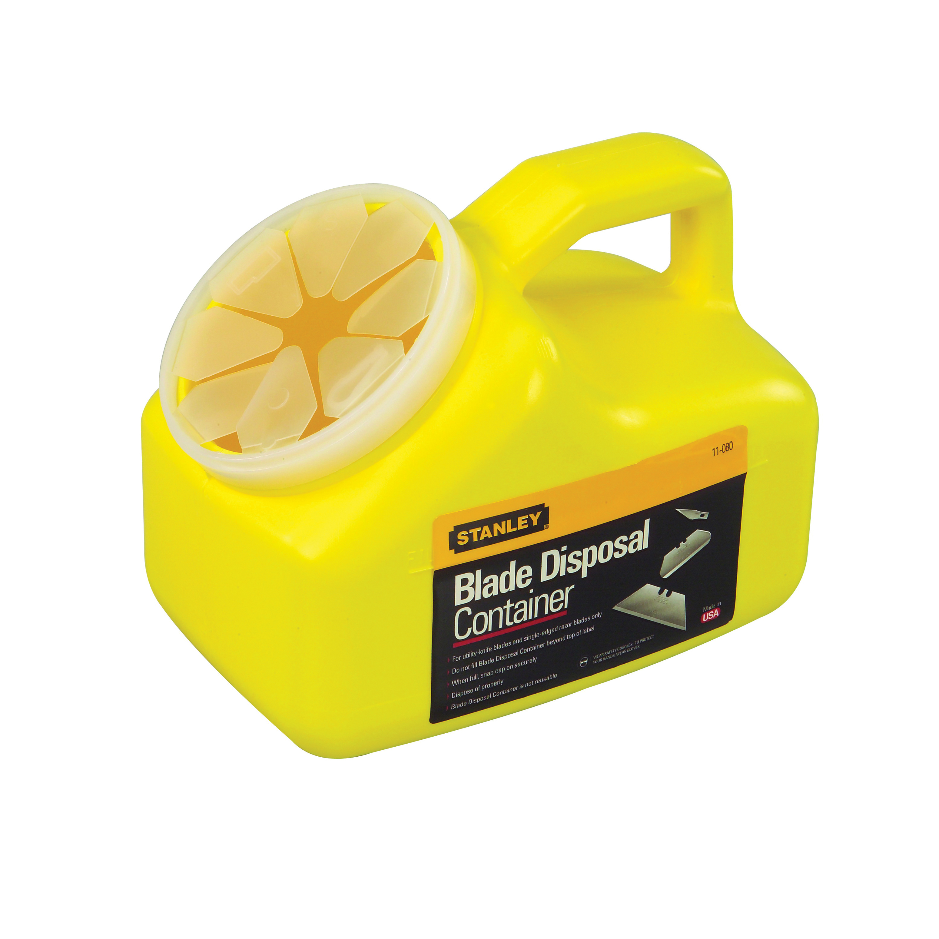 Stanley® 11-080 Blade Disposal Container, 2 qt, 5-3/4 in L x 8-3/4 in W x 7-1/4 in H, Plastic, Yellow