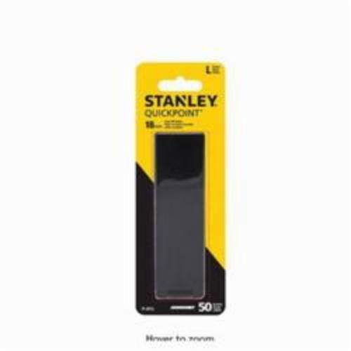 Stanley® Quick-Point™ 11-301L Utility Replacement Blade, Snap-Off, Sharp Point, 4-1/4 in L x 0.02 in W, Compatible With 10-218, 10-480, 10-380, 10-280, 10-220, 10-481 and 10-151 Snap-Off Blade Knife and 18 mm Snap-Off Blade Knife, 0.02 in THK