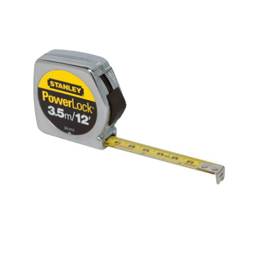Stanley® PowerLock® 33-215 Tape Rule, 12 ft L x 1/2 in W Blade, Mylar® Polyester Film, Imperial/Metric, 1/16ths, 1/32nds, 1 mm