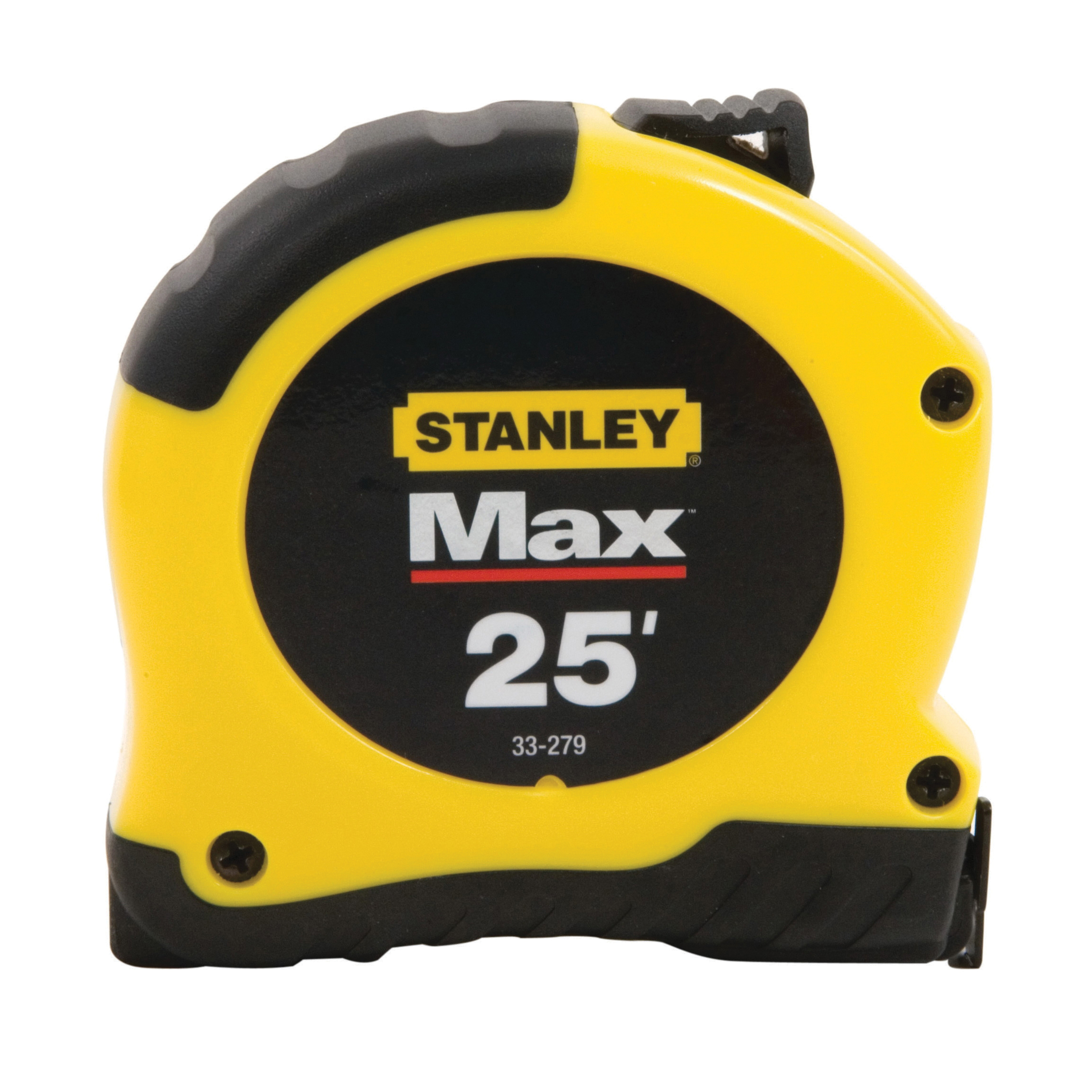 Stanley® 33-279 Max Measuring Tape, 25 ft L x 1-1/8 in W Blade, Steel, Imperial, 1/16 in