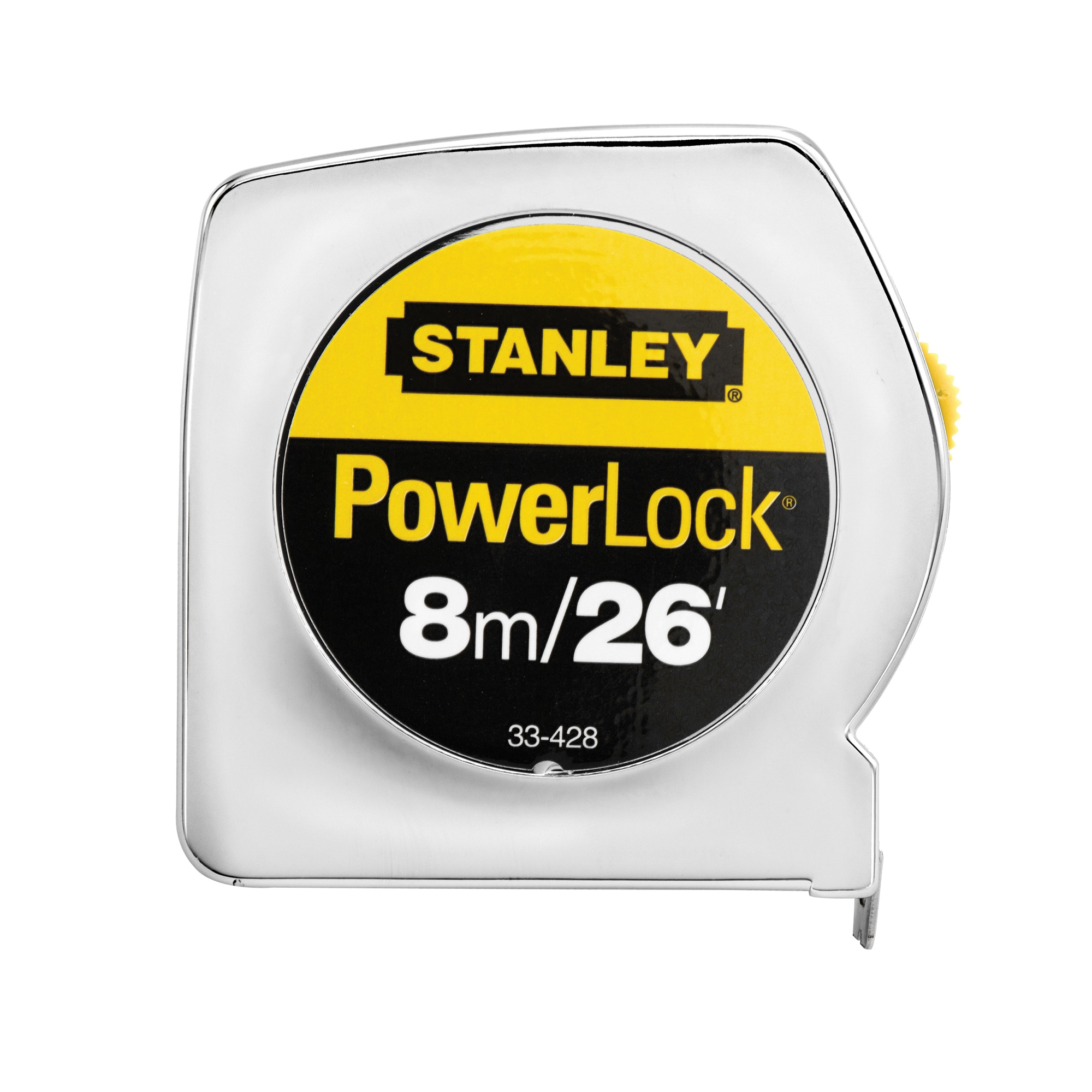 Stanley® PowerLock® 33-428 Classic Tape Rule, 26 ft L x 1 in W Blade, Mylar® Polyester Film, Imperial/Metric, 1/16ths, 1/32nds, 1 mm