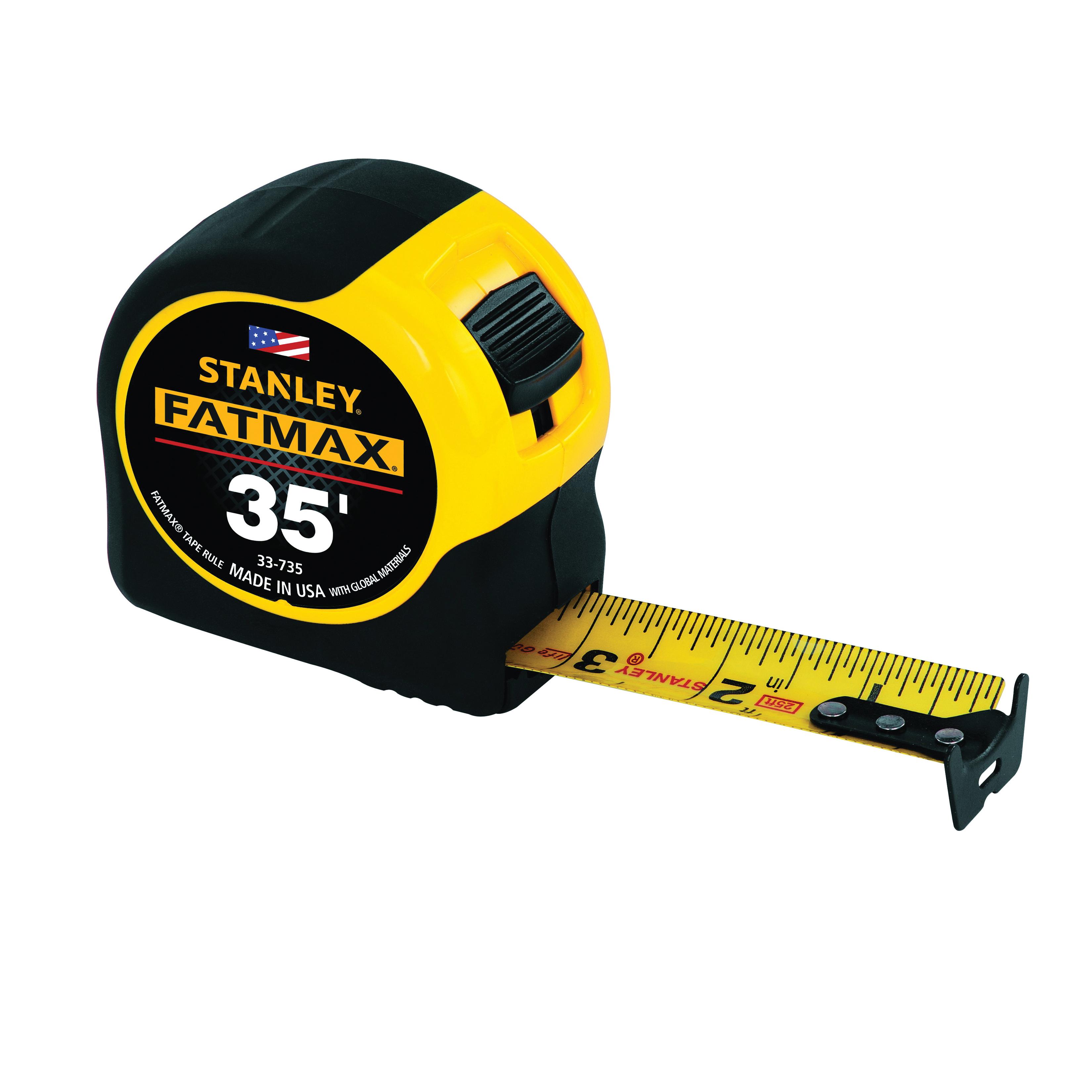 Stanley® FatMax® 33-735 Reinforced Tape Rule With BladeArmor®, 35 ft L x 1-1/4 in W Blade, Mylar® Polyester Film, Imperial