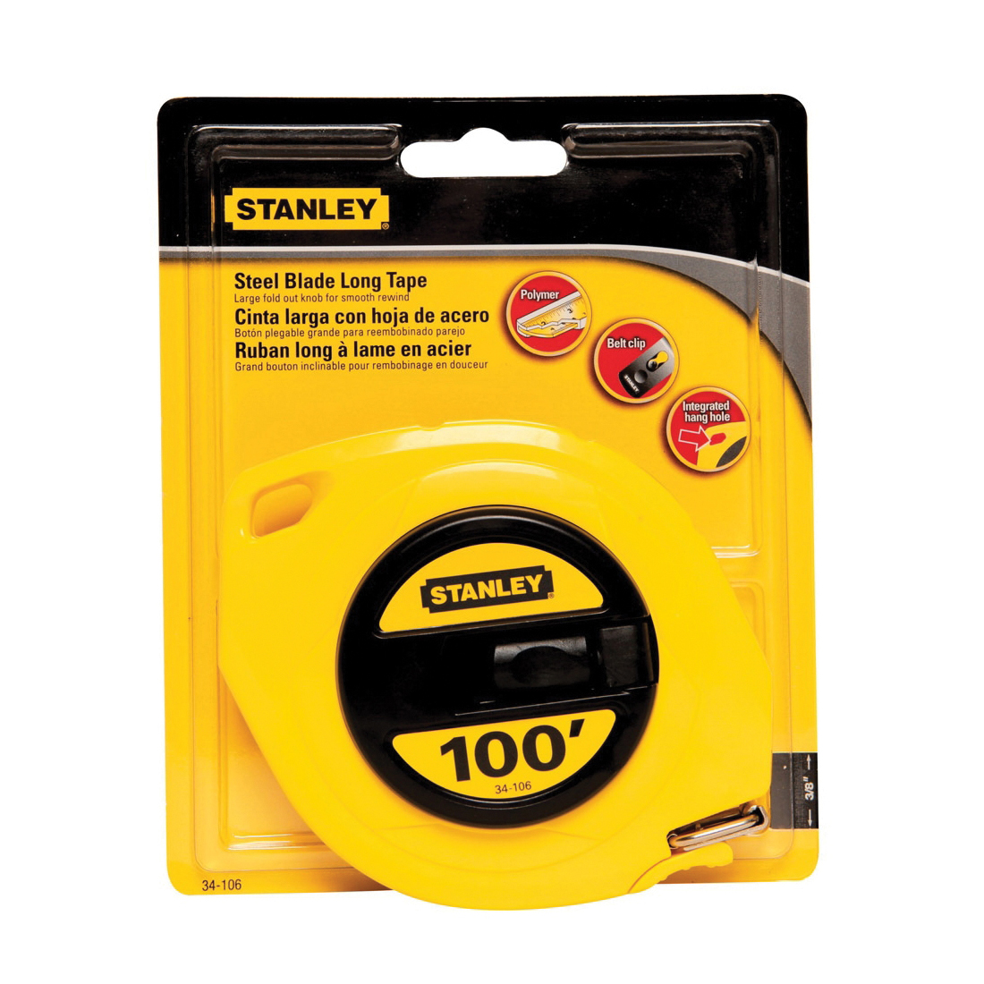 Stanley® 34-103 Long Tape Rule, 50 ft L x 3/8 in W Blade, Polymer Coated Steel, Imperial