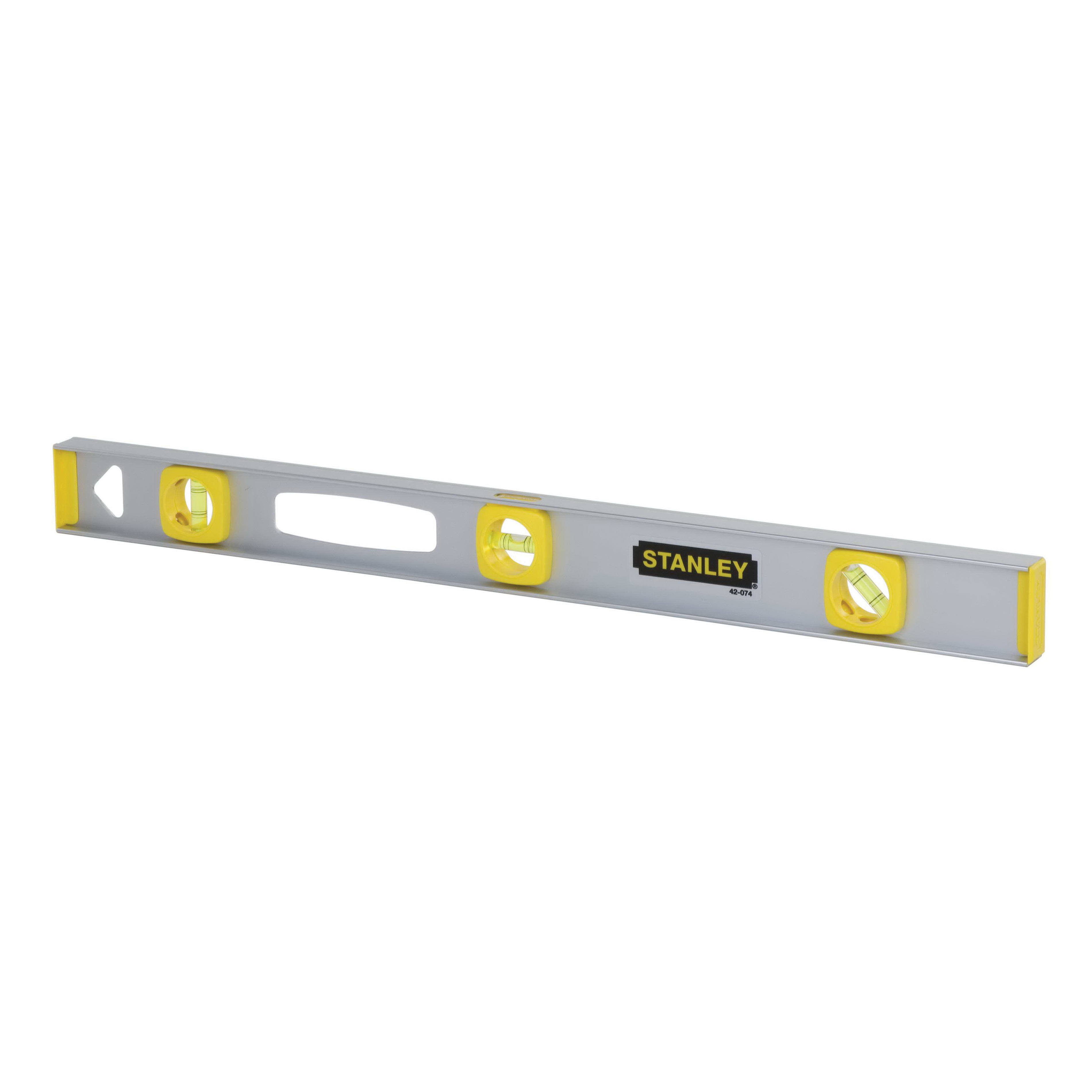 Stanley® 42-076 Flat Base Lightweight I-Beam Level, 48 in L, 3 Vials, (1) Level, (2) Plumb Vial Position, 0.002 in, Aluminum