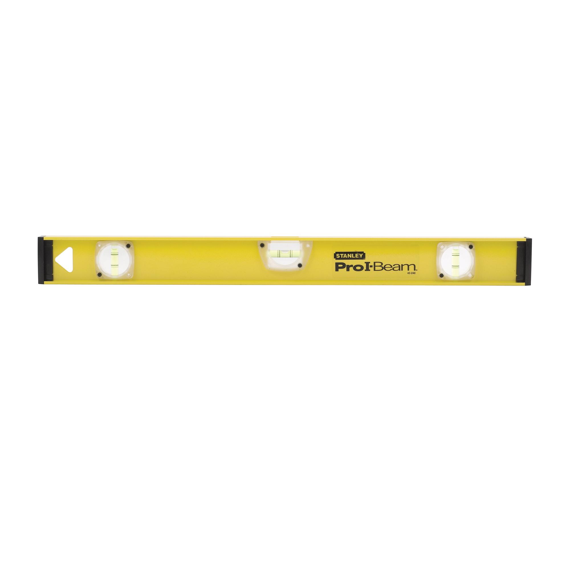Stanley® Pro I-Beam™ 42-240 Non-Magnetic Professional I-Beam Level, 24 in L, 3 Vials, (1) Level, (2) Plumb Vial Position, 0.0015 in/in, Aluminum