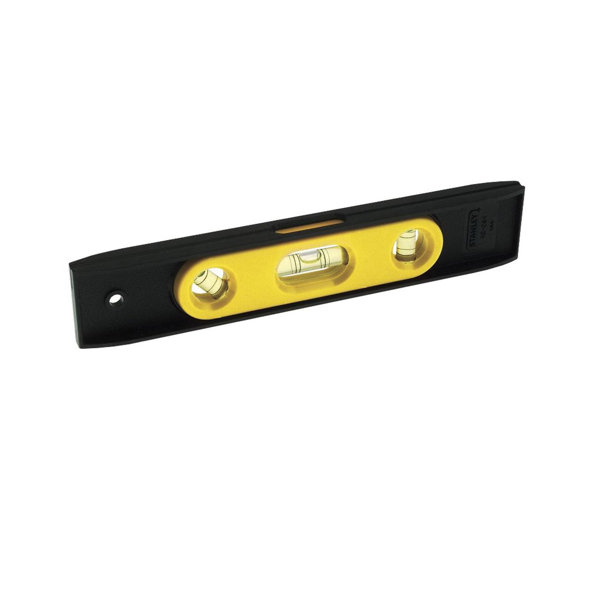 Stanley® 42-264 Magnetic Torpedo Level, 9 in L, 3 Vials, (1) Plumb, (1) Top Read Level, (1) 45 deg Vial Position, 0.005 in, ABS