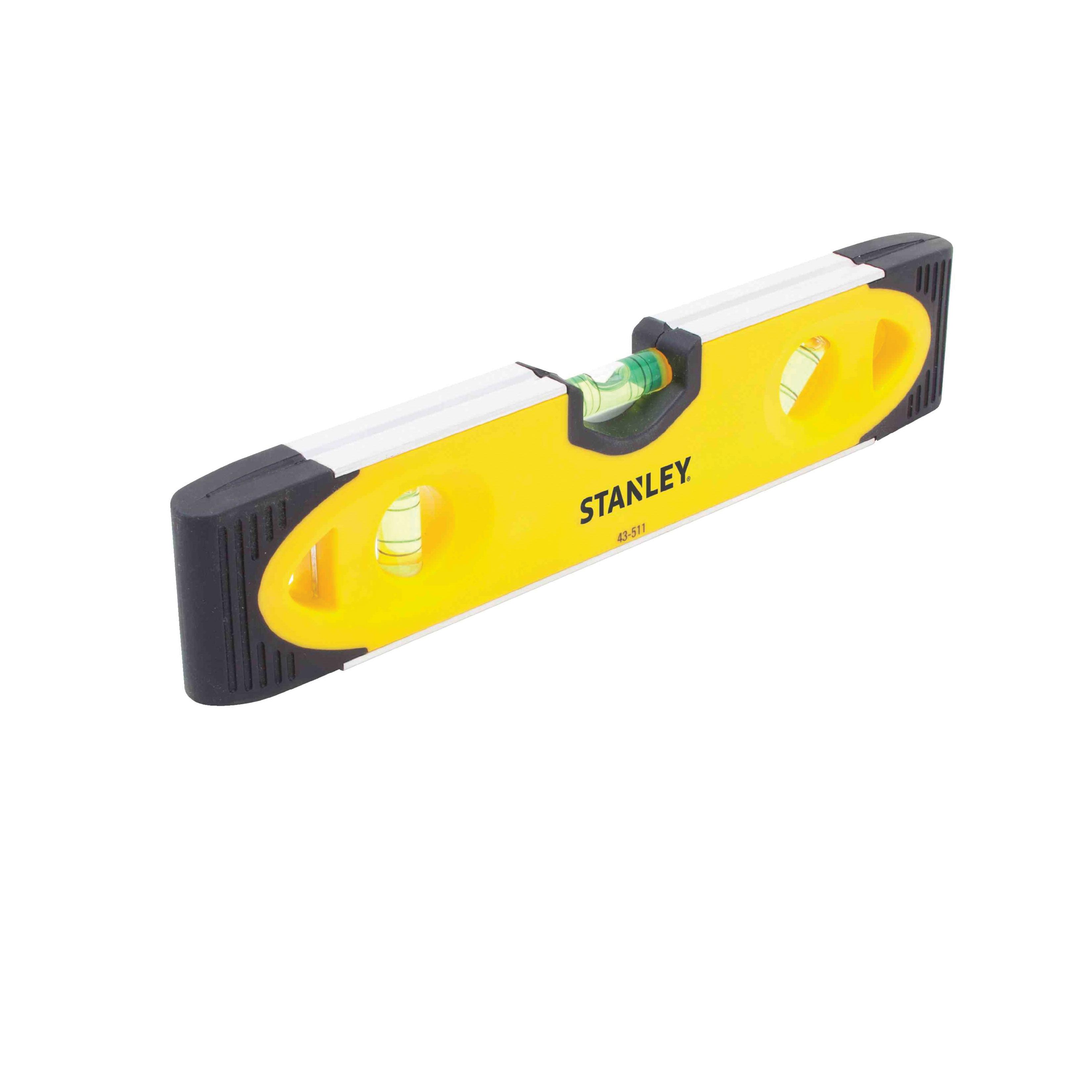Stanley® 43-511 Magnetic Shock Resistant Torpedo Level, 9 in L, 3 Vials, (1) Level, (2) Plumb Vial Position, Aluminum