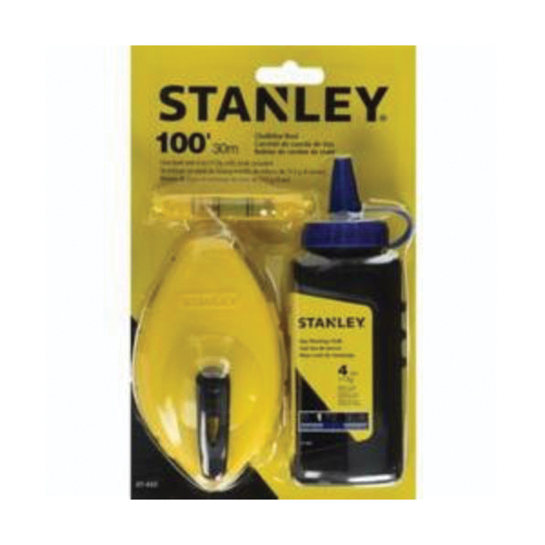 Stanley® 47-443 Chalk Box Set With Red Chalk and Line Level, 100 ft L Polymer Line, 4 oz Chalk, Sliding Side Door, Folding Crank Handle
