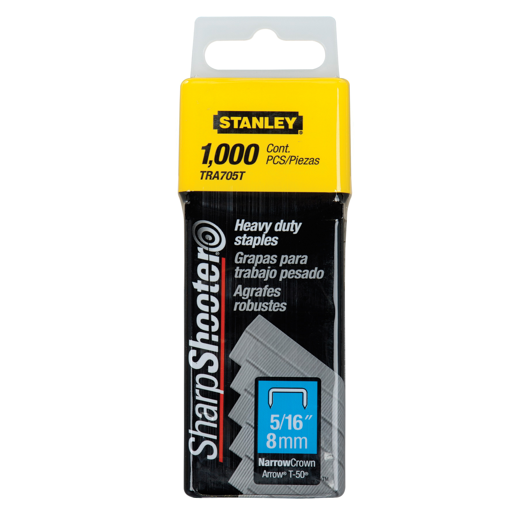 Stanley® TRA705T TRA700 Heavy Duty Narrow Crown Staples, 5/16 in L Leg, Chisel Point, Galvanized Steel, 27/64 in W Crown