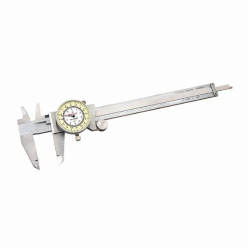 Starrett® 1202F-6 Dial Caliper With Plastic Case, 0 to 6 in, Graduation 0.01 in, 5/8 in Inside x 1-1/2 in Outside D Jaw, Stainless Steel, Satin