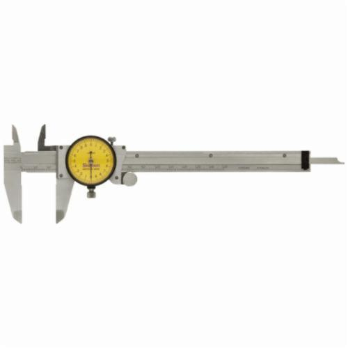 Starrett® 120AM-150 Accurate Direct Reading Reliable Dial Caliper With Plastic Case, 0 to 150 mm, Graduation 0.02 mm, 5/8 in Inside x 1-1/2 in Outside D Jaw, Stainless Steel, Satin