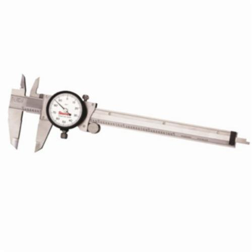 Starrett® 120A-6 Accurate Direct Reading Reliable Dial Caliper With Plastic Case, 0 to 6 in, Graduation 0.001 in, 5/8 in Inside x 1-1/2 in Outside D Jaw, Stainless Steel, Satin