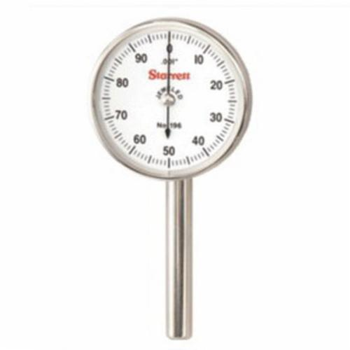 Starrett® 196B1 196 Series Universal Back Plunger Dial Indicator, 0.2 in, 0 to 100 Dial Reading, 0.001 in, 1.45 in Dial