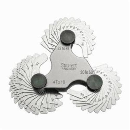 Starrett® 472 Screw Pitch Gauge, 4 to 84 TPI, 51 Leaves, Steel