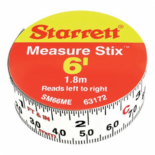 Starrett® SM412W 1-Sided Measure Stix, 12 ft L x 1/2 in W Blade, Carbon Steel, Imperial, 1/16ths