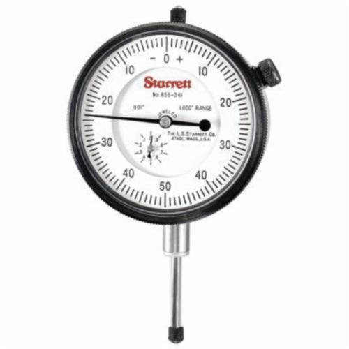 Starrett® 655-341J 655 Series AGD Group 3 Dial Indicator, 1 in, 0 to 50 to 0 Dial Reading, 0.001 in, 2-3/4 in Dial