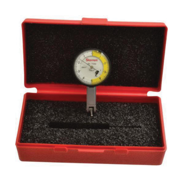 Starrett® 708BZ Balanced Standard Dial Test Indicator, 0.2 in Measuring, 0 to 5 to 0 Dial Reading, Graduations 0.0001 in, 1-3/8 in Dial, 13/16 in L Tip