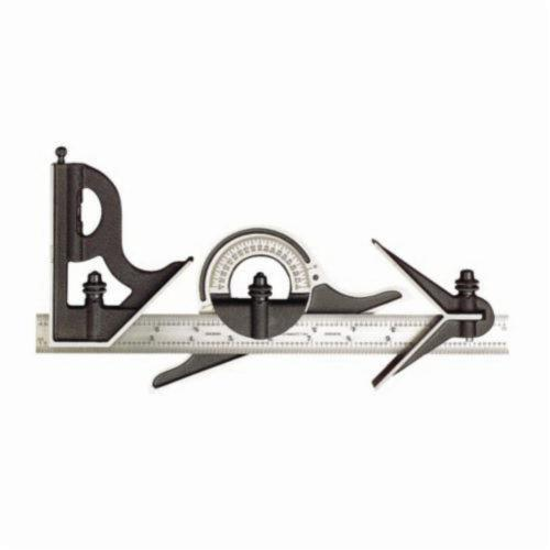 Starrett® 9-12-4R Combination Square Set, 4 Pieces, 12 in L, Hardened Steel Blade, Square/Center/Protractor Head