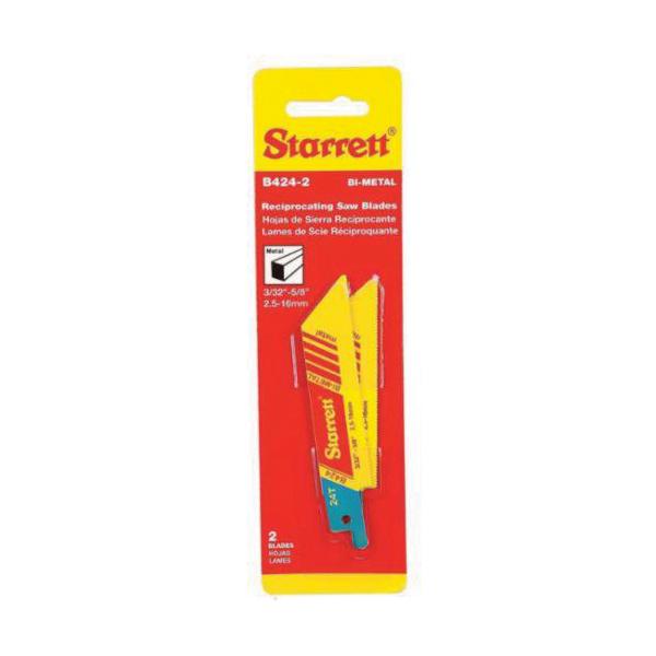 Starrett® B424-2 Fastcut™ 790 General Purpose Reciprocating Saw Blade, 4 in L x 3/4 in W, 24 TPI, Bi-Metal Body, Toothed Edge Tang
