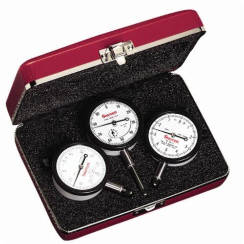 Starrett® S253Z AGD Group 2 Dial Indicator Set, 0.025 in, 0.125 in and 1 in, 0 to 5 to 0, 0 to 25 to 0, 0 to 100 Dial Reading, 0.0001, 0.0005 in