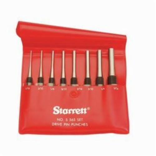 Starrett® S565PC Cylinder Drive Pin Punch Set, Long Drive Style, 1/16 to 5/16 in Punch, 8 Pieces