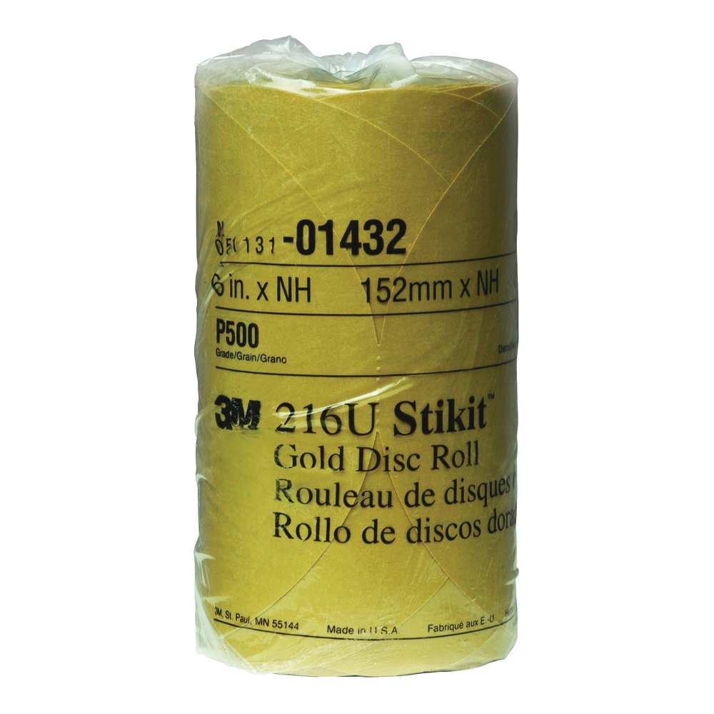 Stikit™ 051131-01432 Open Coated PSA Abrasive Disc Roll, 6 in Dia, P500 Grit, Medium Grade, Aluminum Oxide Abrasive, Paper Backing