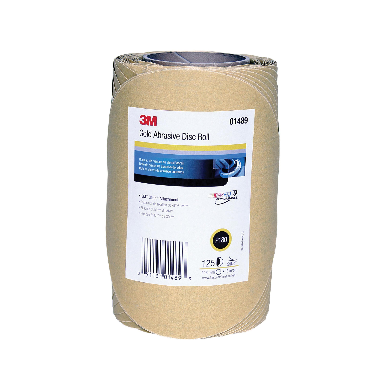 3M™ Stikit™ 051131-01489 Open Coated PSA Abrasive Disc Roll, 8 in Dia Disc, P180 Grit, Medium Grade, Aluminum Oxide Abrasive, Paper Backing