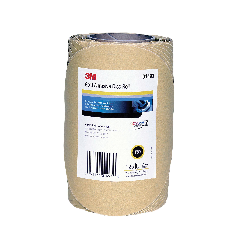 3M™ Stikit™ 051131-01493 Open Coated PSA Abrasive Disc Roll, 8 in Dia Disc, P80 Grit, Coarse Grade, Aluminum Oxide Abrasive, Paper Backing