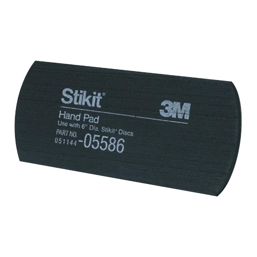 3M™ Stikit™ 051144-05586 Medium Density Hand Pad, 6 in L x 2-3/4 in W, 3/8 in THK Overall, PSA Attachment