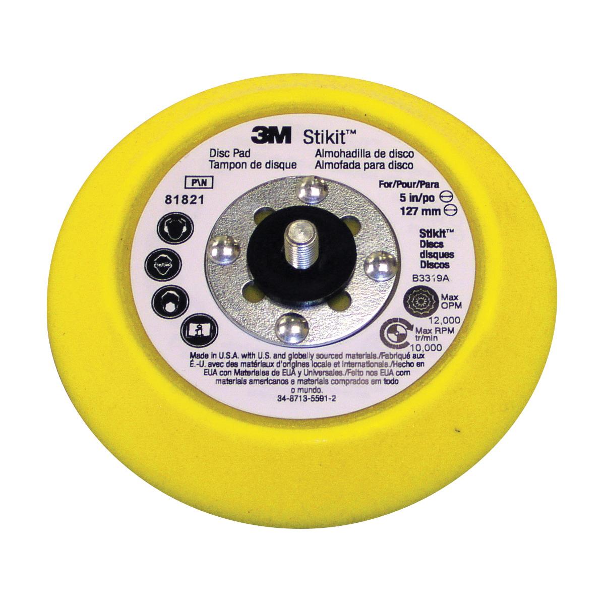 3M™ Stikit™ 051144-81821 Adhesive Back Medium Density Regular Disc Pad, 5 in Dia Pad, 3M™ Stikit™ Attachment