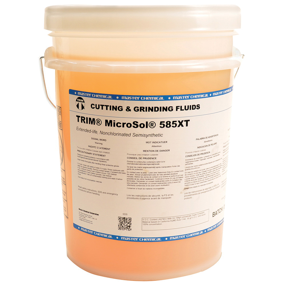 TRIM® MS585XT/5 MicroSol® 585XT High Lubricity Non-Chlorinated Semi-Synthetic Microemulsion Coolant, 5 gal Pail, Mild Amine Odor/Scent, Liquid Form, Amber (Concentrate)/White Microemulsion (Working Solution)
