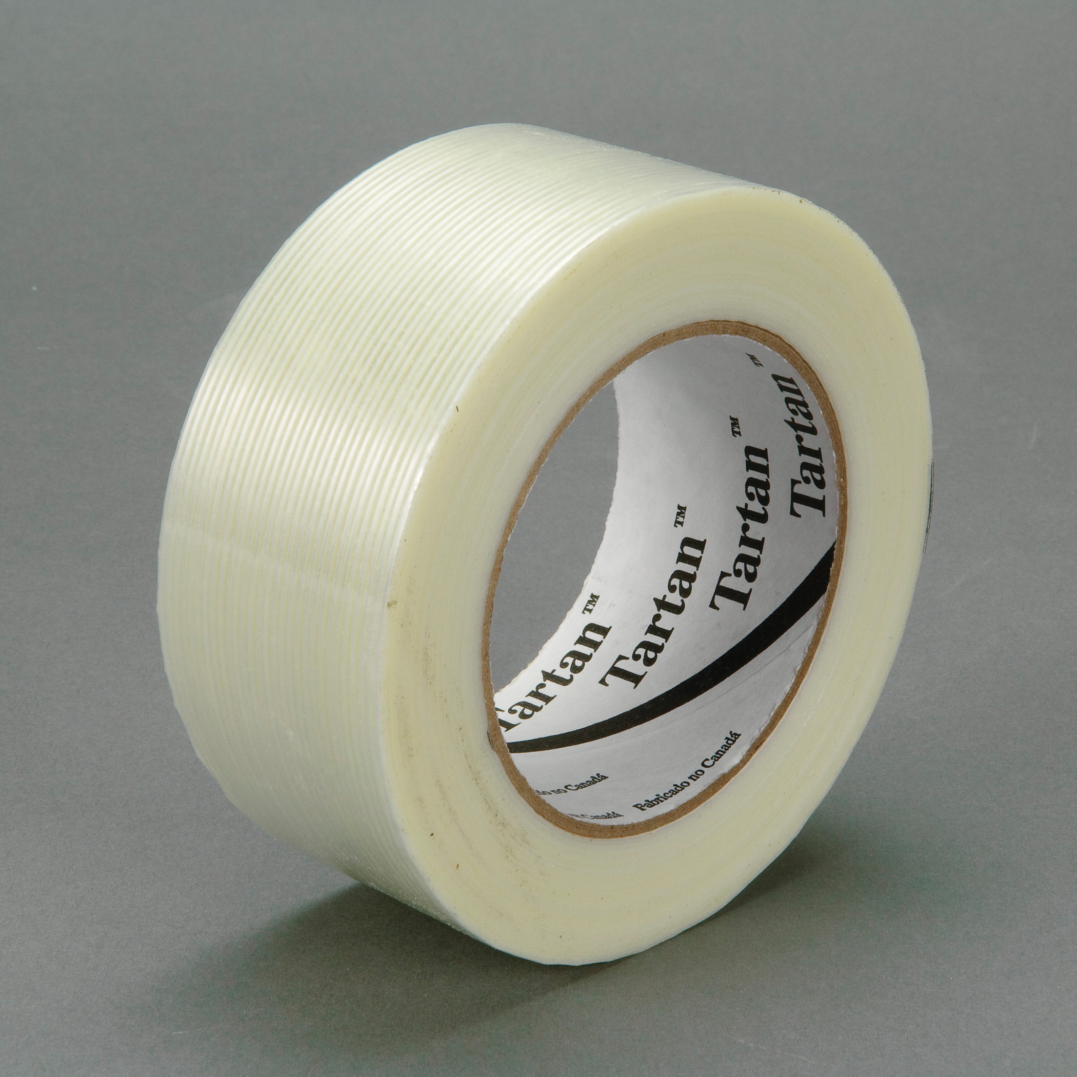 Tartan™ 021200-39476 High Strength Filament Tape, 55 m L x 72 mm W, 4 mil THK, Fiberglass Yarn Filament, Synthetic Rubber Adhesive, Polypropylene Film Backing, Clear