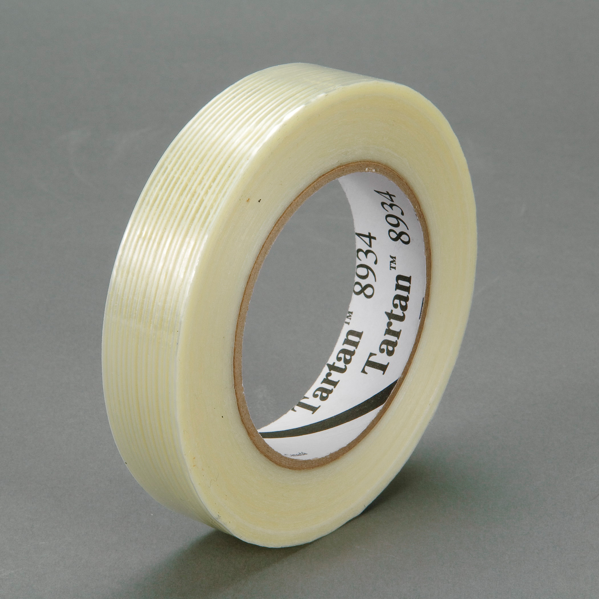 Tartan™ 021200-86517 High Strength Filament Tape, 55 m L x 9 mm W, 4 mil THK, Fiberglass Yarn Filament, Synthetic Rubber Adhesive, Polypropylene Film Backing, Clear