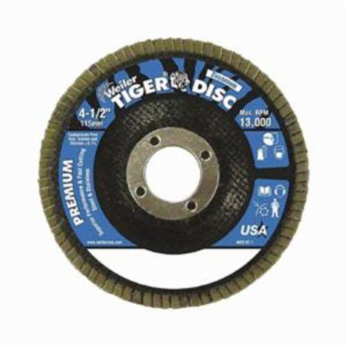 Tiger® 50513V Close Premium Standard Density Vending Ready Coated Abrasive Flap Disc, 4-1/2 in Dia, 7/8 in Center Hole, 40 Grit, Coarse Grade, Zirconia Alumina Abrasive, Type 29/Angled Disc