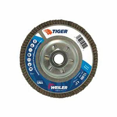Tiger® 50525 Premium Coated Abrasive Flap Disc, 5 in Dia, 7/8 in Center Hole, 80 Grit, Medium Grade, Zirconia Alumina Abrasive, Type 29/Angled Disc