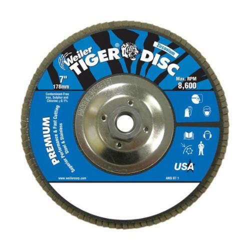 Tiger® 50583 Premium Coated Abrasive Flap Disc, 7 in Dia, 7/8 in Center Hole, 40 Grit, Coarse Grade, Aluminum Oxide Abrasive, Type 29/Angled Disc
