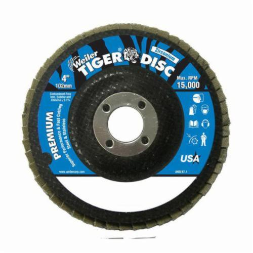 Tiger® 50503 Premium Coated Abrasive Flap Disc, 4 in Dia, 5/8 in Center Hole, 40 Grit, Coarse Grade, Zirconia Alumina Abrasive, Type 29/Angled Disc