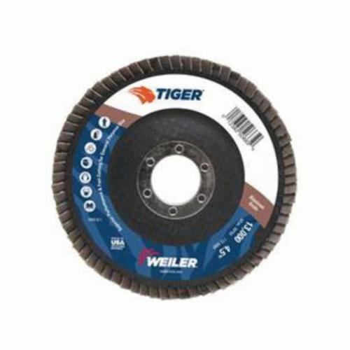Tiger® 50663 Premium Coated Abrasive Flap Disc, 4-1/2 in Dia, 7/8 in Center Hole, 40 Grit, Coarse Grade, Aluminum Oxide Abrasive, Type 27/Flat Disc