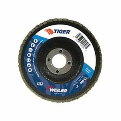 Tiger® 50675 Premium Coated Abrasive Flap Disc, 5 in Dia, 7/8 in Center Hole, 80 Grit, Medium Grade, Aluminum Oxide Abrasive, Type 27/Flat Disc
